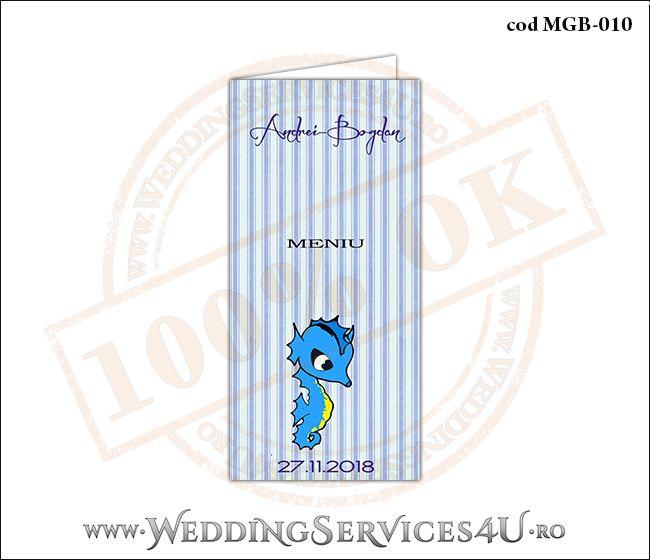 Meniu de Botez cu calut de mare si fundal albastru in dungi MGB-010