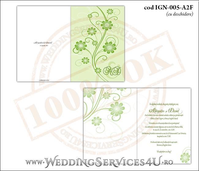 IGN-005-A2F Invitatie Nunta Botez cu flori in nunate de verde