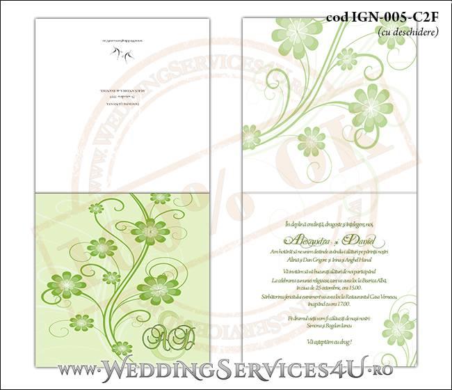 IGN-005-C2F Invitatie Nunta Botez cu flori in nunate de verde