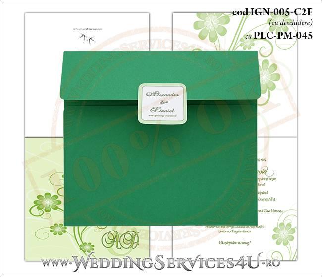 IGN-005-C2F cu PLC-PM-045 Invitatie Nunta Botez cu flori in nunate de verde