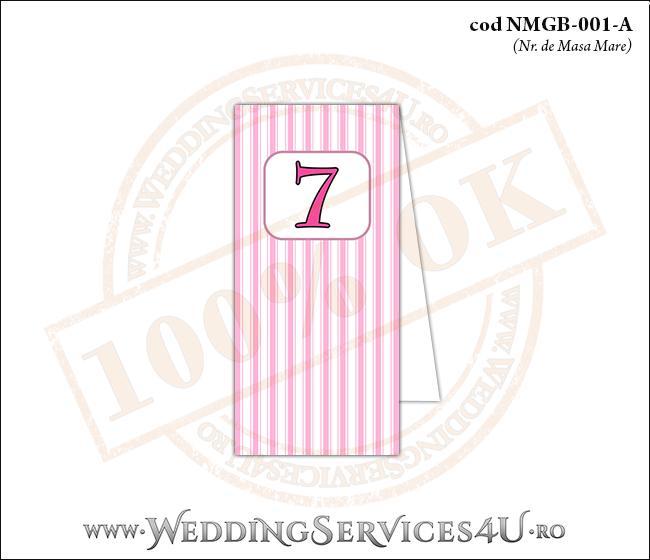 NMGB-001-A Numar de Masa pentru Botez cu dungi roz