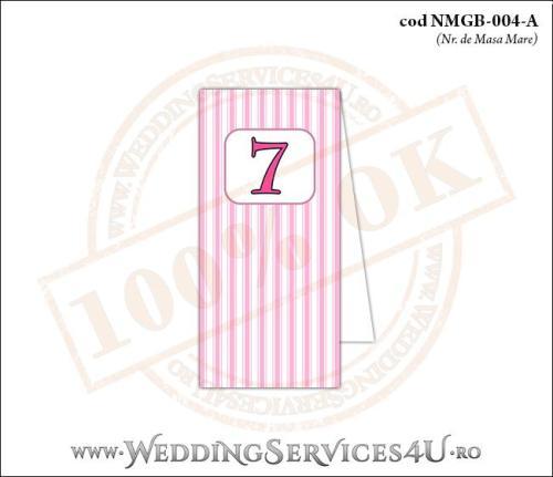 NMGB-004-A Numar de Masa pentru Botez cu dungi roz