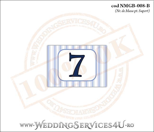 NMGB-008-B Numar de Masa pentru Botez cu dungi albastre