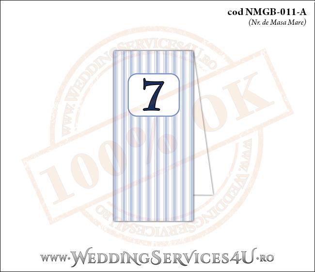 NMGB-011-A Numar de Masa pentru Botez cu dungi albastre