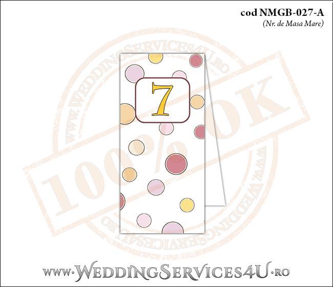 NMGB-027-A Numar de Masa pentru Botez cu buline colorate