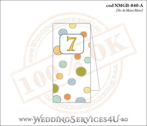 NMGB-040-A Numar de Masa pentru Botez cu buline colorate