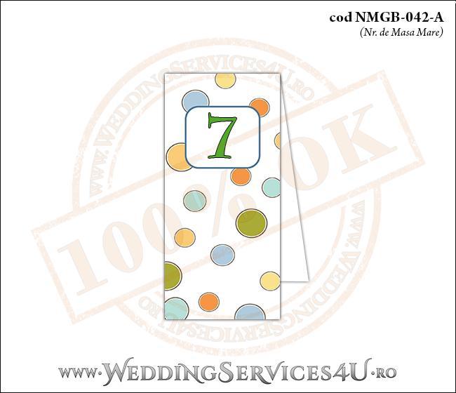 NMGB-042-A Numar de Masa pentru Botez cu buline colorate