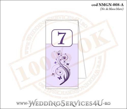 NMGN-008-A Numar de Masa pentru Nunta sau Botez cu flori si fluturi in nuante de mov lila violet