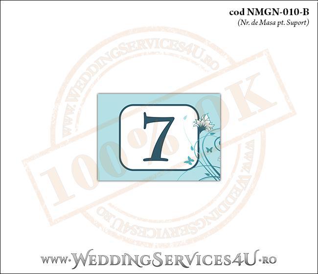 NMGN-010-B Numar de Masa pentru Nunta sau Botez cu flori si fluturi in nuante de turcoaz