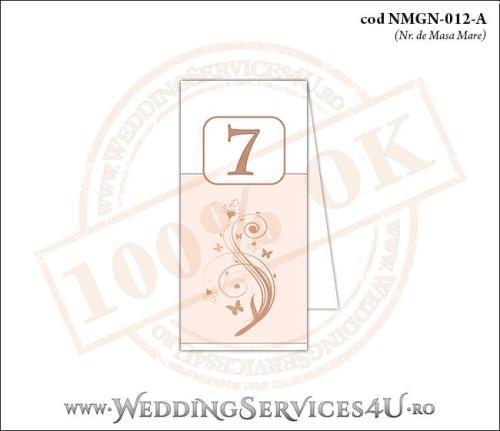 NMGN-012-A Numar de Masa pentru Nunta sau Botez cu flori si fluturi in nuante de peach