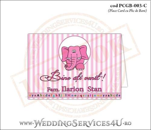 PCGB-003-C Place Card cu Plic de Bani sigilabil pentru Botez cu elefantel
