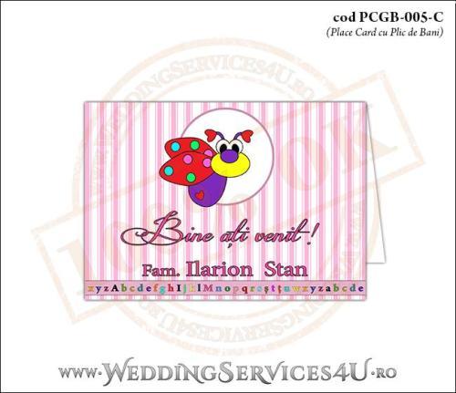 PCGB-005-C Place Card cu Plic de Bani sigilabil pentru Botez cu gargarita roz bonbon