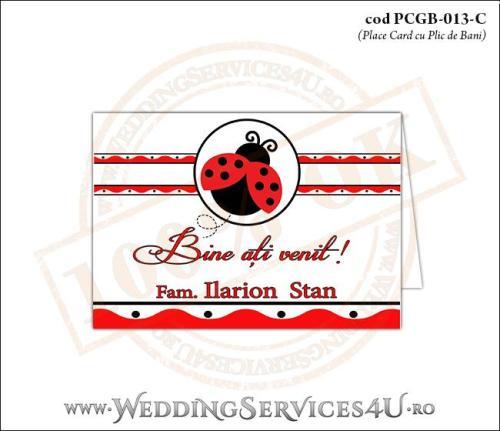 PCGB-013-C Place Card cu Plic de Bani sigilabil pentru Botez cu motive populare romanesti si gargarita in zbor