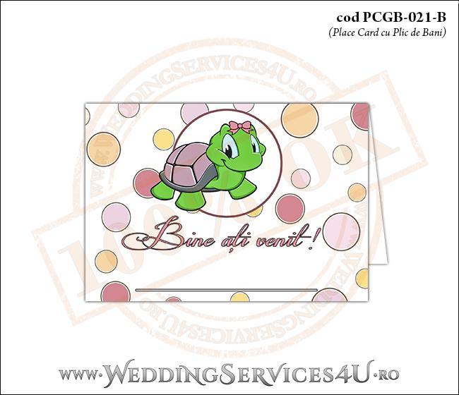 PCGB-021-B Place Card cu Plic de Bani sigilabil pentru Botez cu broscuta