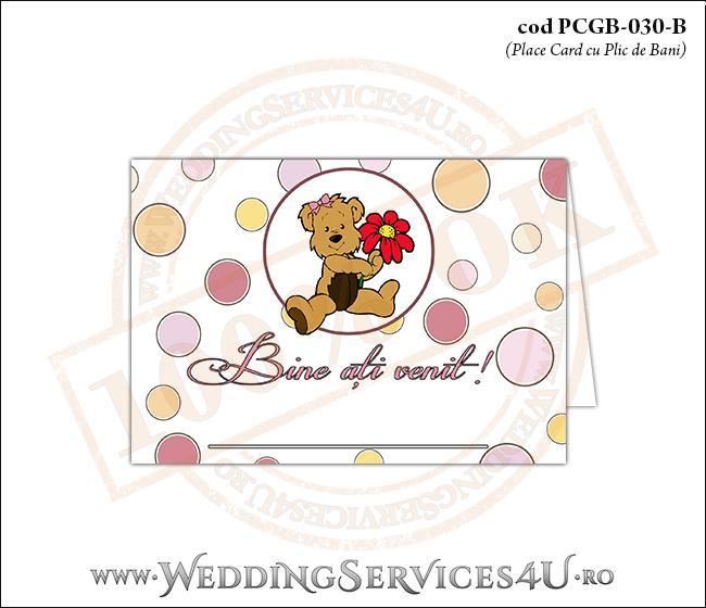 PCGB-030-B Place Card cu Plic de Bani sigilabil pentru Botez cu ursulet