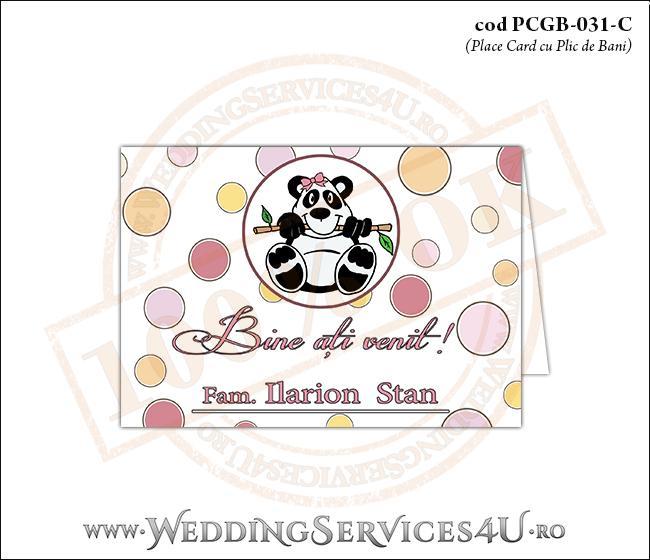 PCGB-031-C Place Card cu Plic de Bani sigilabil pentru Botez cu urs panda