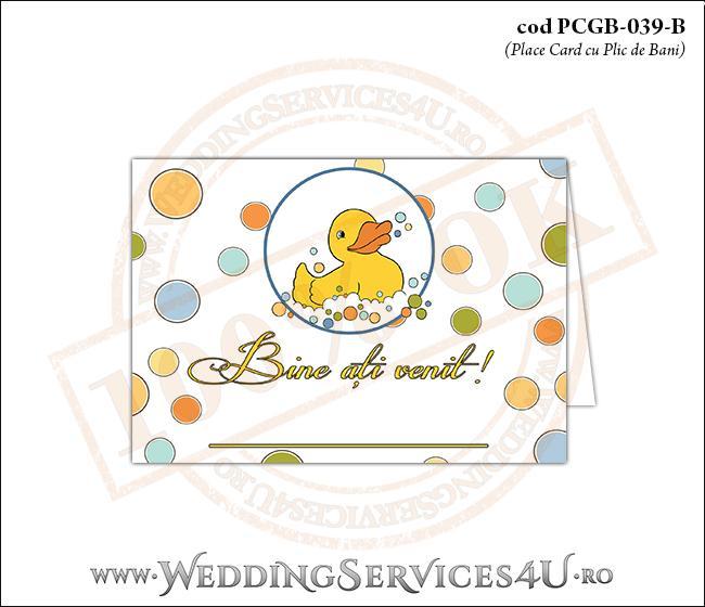 PCGB-039-B Place Card cu Plic de Bani sigilabil pentru Botez cu ratusca