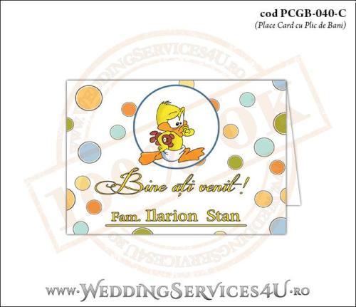 PCGB-040-C Place Card cu Plic de Bani sigilabil pentru Botez cu bebe ratusca