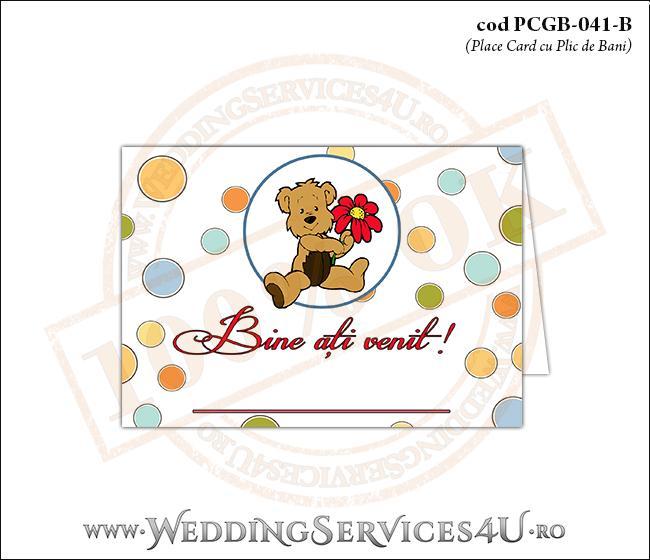 PCGB-041-B Place Card cu Plic de Bani sigilabil pentru Botez cu ursulet