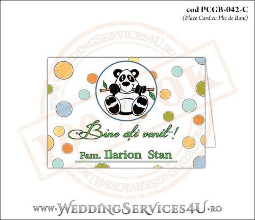 PCGB-042-C Place Card cu Plic de Bani sigilabil pentru Botez cu urs panda