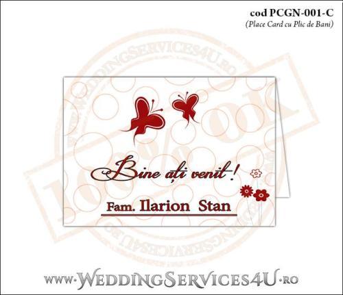PCGN-001-C Place Card cu Plic de Bani sigilabil pentru Nunta sau Botez cu fluturi si flori rosii stilizate