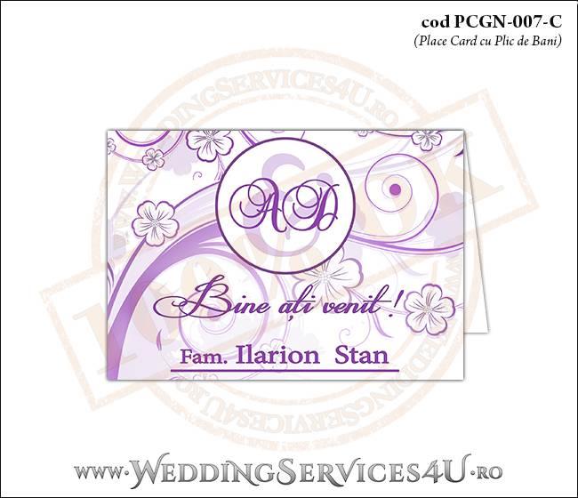 PCGN-007-C Place Card cu Plic de Bani sigilabil pentru Nunta sau Botez cu flori mov lila violet