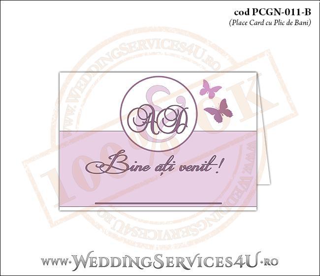 PCGN-011-B Place Card cu Plic de Bani sigilabil pentru Nunta sau Botez cu fluturi in nuante de roz prafuit