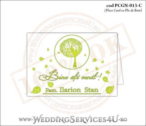 PCGN-013-C Place Card cu Plic de Bani sigilabil pentru Nunta sau Botez cu un copac verde plin de frunze si doua vrabiute