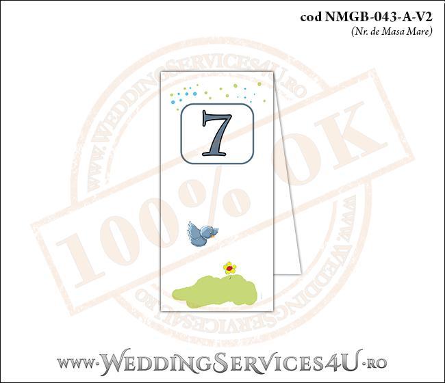 NMGB-043-A-V2 Numar de Masa pentru Botez o vrabiuta in zbor deasupra unei flori galbene