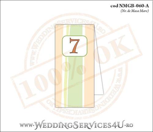NMGB-060-A Numar de Masa pentru Botez cu dungi pastel