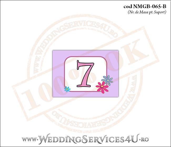 NMGB-065-B Numar de Masa pentru Botez cu fundal mov-lila si flori colorate