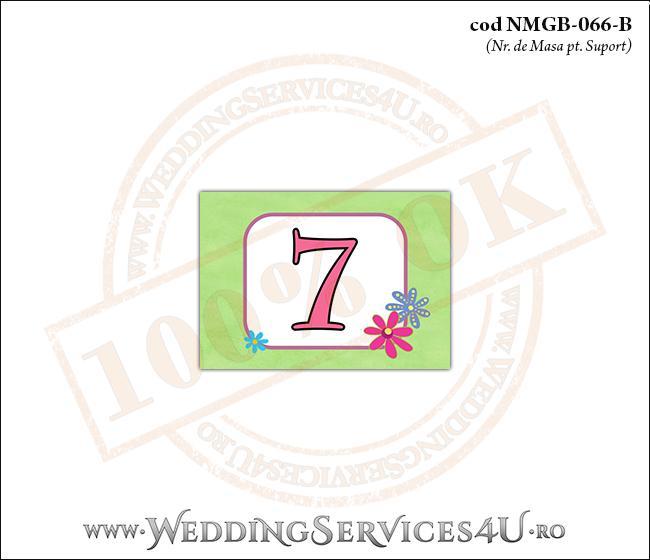 NMGB-066-B Numar de Masa pentru Botez cu 'gazon verde' si flori colorate