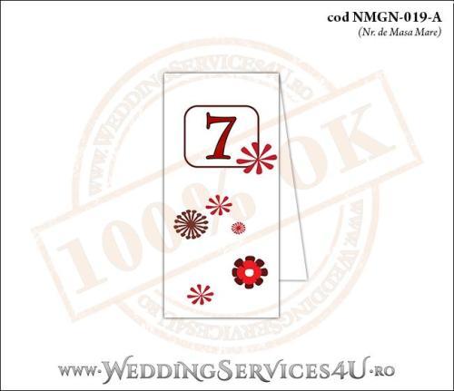 NMGN-019-A Numar de Masa pentru Nunta sau Botez cu flori stilizate