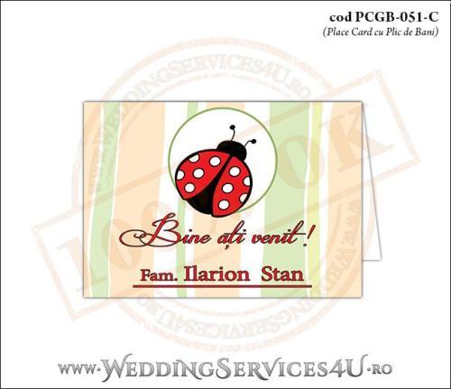 PCGB-051-C Place Card cu Plic de Bani sigilabil pentru Botez cu gargarita