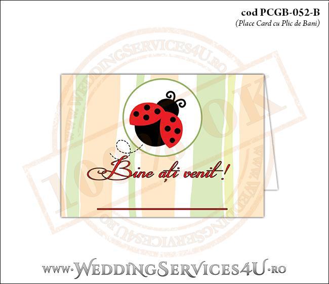 PCGB-052-B Place Card cu Plic de Bani sigilabil pentru Botez cu gargarita in zbor