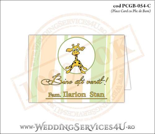 PCGB-054-C Place Card cu Plic de Bani sigilabil pentru Botez cu cu pui de girafa