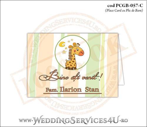 PCGB-057-C Place Card cu Plic de Bani sigilabil pentru Botez cu girafa