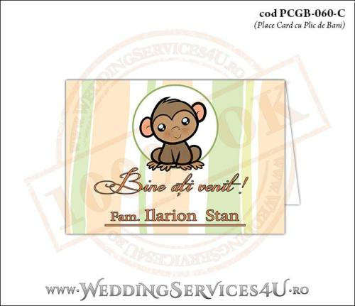 PCGB-060-C Place Card cu Plic de Bani sigilabil pentru Botez cu maimutica
