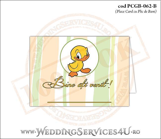 PCGB-062-B Place Card cu Plic de Bani sigilabil pentru Botez cu ratusca