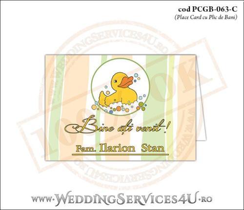 PCGB-063-C Place Card cu Plic de Bani sigilabil pentru Botez cu ratusca