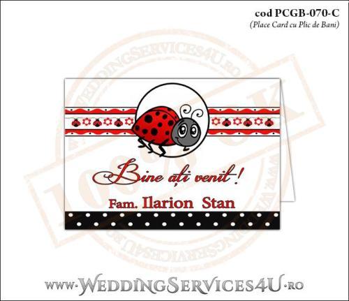 PCGB-070-C Place Card cu Plic de Bani sigilabil pentru Botez cu gargarita si motive traditionale romanesti