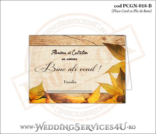 PCGN-018-B Place Card cu Plic de Bani sigilabil pentru Nunta sau Botez cu tematica de toamna