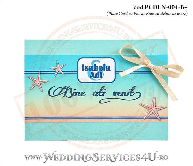 PCDLN-004-B+ place card cu plic de bani nunta botez turcoaz cu tematica marina si stelute de mare