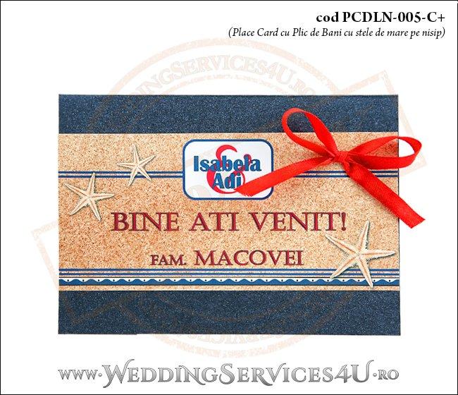 PCDLN-005-C+-01 place card cu plic de bani nunta botez albastru marin cu tematica marina si cu stele si stelute de mare pe nisip