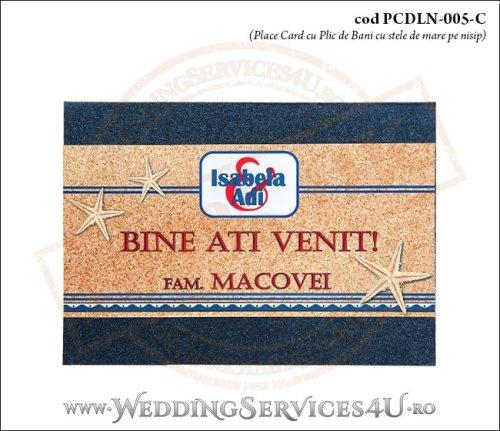 PCDLN-005-C-01 place card cu plic de bani nunta botez albastru marin cu tematica marina si stelute de mare pe nisip