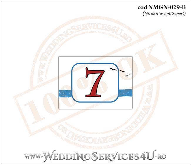 NMGN-029-B Numar de Masa pentru Nunta sau Botez cu dungi albastre si pasari stilizate in zbor