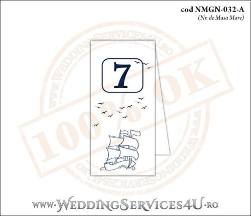 NMGN-032-A Numar de Masa pentru Nunta sau Botez cu tematica marina (cu o barca (vapor) cu vele)
