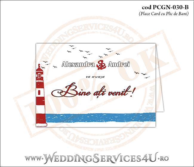 PCGN-030-B Place Card cu Plic de Bani sigilabil pentru Nunta sau Botez cu tematica marina (cu un far marin si pescarusi stilizati in zbor)