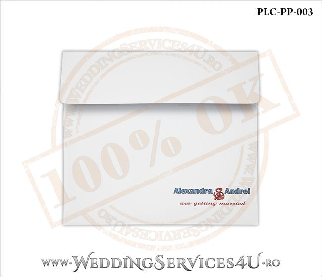 Plic Patrat pentru invitatie de Nunta Colorat Personalizat cu tematica marina realizat din carton alb mat cu Monograma Tiparita. PLC-PP-003-1