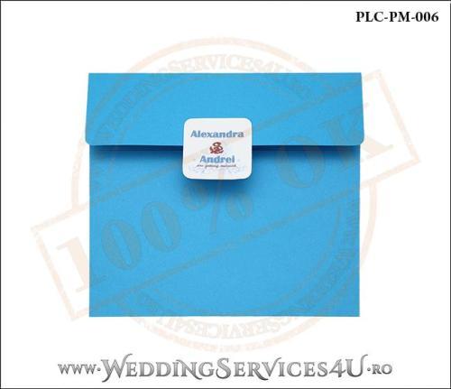 Plic Patrat pentru invitatie de Nunta Colorat Personalizat cu tematica marina realizat din carton albastru mat cu Monograma Aplicata. PLC-PM-006-1